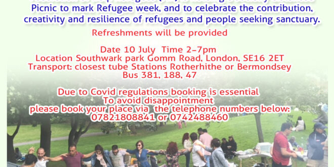 Federation of Iraqi Refugees (FIR) is holding a socially distanced Picnic to mark Refugee week..